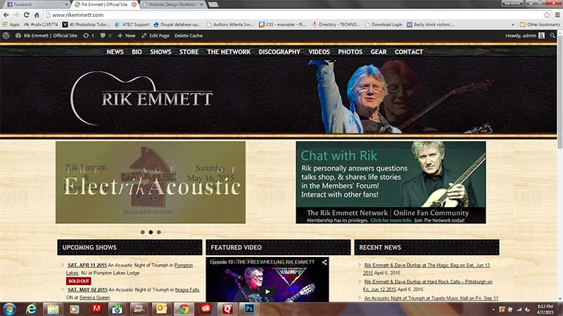 SDOC upgraded the Rik Emmett website by using the site elements to create a more modern and responsive look and function.